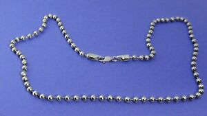 """Genuine .925 Sterling Silver Bead Strand Necklace 24""""  34.4g"""