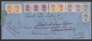 OFS BOER WAR REDIRECTED REGISTERED COVER TO LIEUT COL IRELAND FIELD PAYMASTER