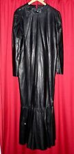 silky SOFT black LEATHER LONG DRESS BALL GOWN  LINED fishtail Transvestite