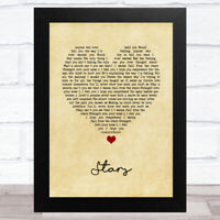 Stars Vintage Heart Song Lyric Music Art Print