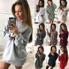 UK Women Ladies Casual Sweatshirt Long Sleeve Sweater Hoodie Jumper Winter Dress