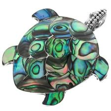 "1 5/8"" PAUA ABALONE SHELL 925 STERLING SILVER TURTLE PENDANT brooch"