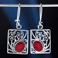 Koralle Silber 925 Ohrringe Damen Schmuck Sterlingsilber H0575