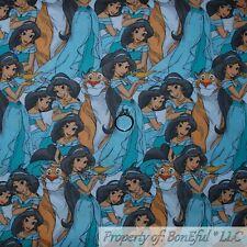 BonEful FABRIC FQ Cotton Quilt Disney Aladdin Girl Jasmine Princess Tiger Rajah