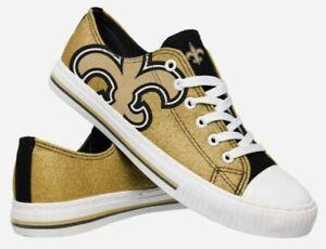 BRAND NEW FOCO New Orleans Saints NFL Women's Glitter Low Top Canvas Shoes Sz 10