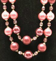 Fuchsia Pink Large Beaded Two-Strand Necklace ~ Free Shipping