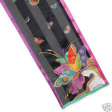 Laurel Burch 100% Silk Oblong Scarf Mid Summers Dream Butterfly Black Fushia New