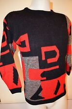 Geometric Abstract Art Deco Tacky Cyber Urban Dance M/L Ugly Sweater VTG 70s 80s