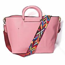 DESIGNER INSPIRED GUITAR STRAP PINK CROSS BODY TWO-IN-ONE TOTE HANDBAG