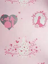 Fairies Fairy Princess Pink Silver Kids Childrens Girls Wallpaper