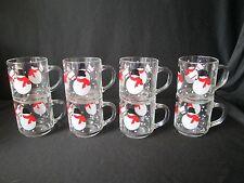 Lot 8 SNOWMAN Christmas Luminarc France Holiday Glass Mugs Sold Crate & Barrel