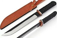 1098 CUSTOM MADE D 2 STEEL TANTO KNIFE   FULL TANG   LEATHER HANDLE