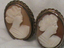 Vintage Carnelian Shell Cameo Screw-on Earrings marked Sterling