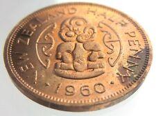 1960 New Zealand 1/2 Half Penny Elizabeth II KM# 23.2 Circulated Coin S415