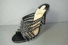 LOUBOUTIN 36 MARTHASPIKE 100 Black Leather Silver Spikes Studs Sandals Mules NEW