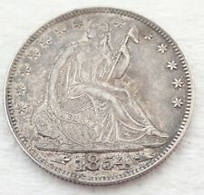 Antique 1854 Seated Liberty Half Dollar Silver Coin