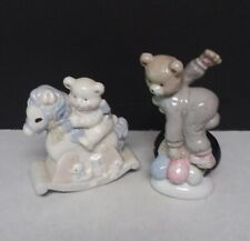 2 Porcelain Teddy Bear Figurines on a Unicycle and Rocking Horse