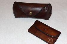 PotteryBarn Saddle Leather Eyeglass Case & Business Card Holder NWOT Free Ship C