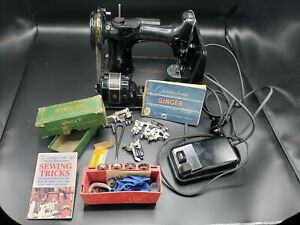 1956 Singer Featherweight Sewing Machine 221 Working In Case w/ attachments