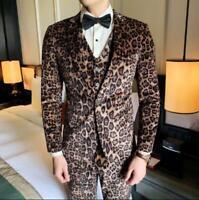 Mens Fashion Lapel Leopard Print Suit Coats Vest Jacket  Suit Pants Dress Sets K