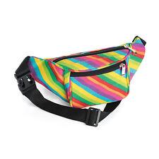 Ladies Girls Womens Mens Boys Rainbow Stripe Effect Retro Bum Bag Brand New
