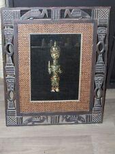 Cadre bois travaillé  Vitrine contenant une Statuette Africaine sous verre