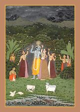 India Rajput Reproduction: Radha and Krishna Walk in a Grove - Fine Art Print