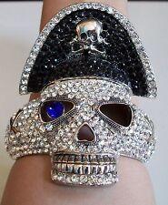 Fashion Silver Finish Crystal Hip Hop Bling Skull Pirate Bangle Bracelet