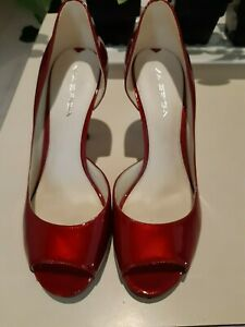 Womens Shoes Heels Via Spiga Made In Italy Size 8M Leather Patent Red Peep Toe