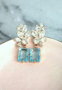 5.75Ct Emerald Cut Blue Topaz Diamond  Drop/Dangle Earrings 14K Rose Gold Finish