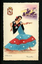 Embroidered clothing postcard Artist Puanta , Spain, Andalucia woman