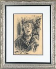 """Leonid Balaklav Self-Portrait Charcoal on Paper 19"""" x 16"""" Signed & Dated 1997"""