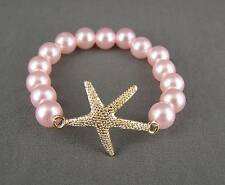 Pink plastic faux pearl Starfish Sea Life Star Fish pendant bracelet size small