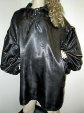 Vintage: Satin! Shiny Black Satin Ballooon Shirt