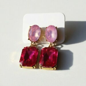 Pink Crystal Style Gold Statement Hanging Drop Plated Earrings. Zara Stud Style