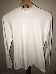 Men's Under Armour Cold Gear Shirt XL White Compression Mock Turtle Neck LS Base