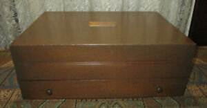 Vintage Walnut 2 Tier Silverware Chest Service for 12 Tarnish Resistant Cloth
