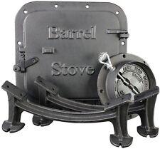 Steel Drum Barrel Stove Kit Wood Heater Cast Iron Hardware Door Collar Damper