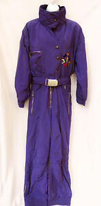 Vtg 80s BOGNER Purple Southwestern Insulated One Piece Ski SnowSuit 10 12