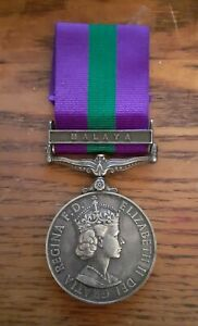 1918 - 1962 UK Army GSM General Service Silver Medal with Malaya Fixed Clasp
