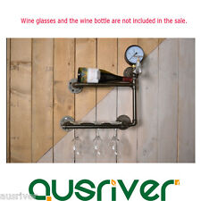 Retro Vintage Wall Mounted Waterpipe Wine Bottle Glass Gadget Rack Holder Bar