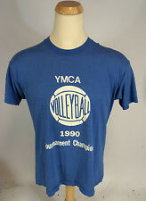 Vintage 80s 90s Paper Thin Blue YMCA Volleyball Distressed T Shirt 1990 L/M