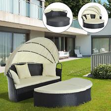 gartenliegen aus polyrattan mit sonnenschutz g nstig kaufen ebay. Black Bedroom Furniture Sets. Home Design Ideas