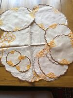 Vintage 12 Piece Set Of Linen Embroidered Doilies