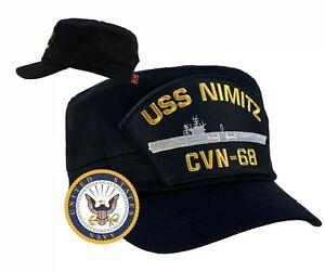 USS Nimitz Hat CVN-68 Hat Cap Cadet / Fatigue Style Black w/Free Navy Sticker