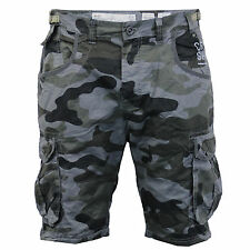 "Mens Crosshatch Camouflage Shorts Cargo Combat Knee Length Jeans Military Summer Black - Fincamo Waist 42"""