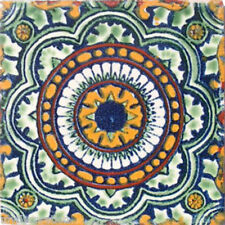 C#035) 9 MEXICAN TILES CERAMIC HAND MADE SPANISH INFLUENCE TALAVERA MOSAIC ART