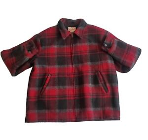 Vintage Woolrich Thick Wool Mens Full Zip Jacket Plaid Hunting Size XL