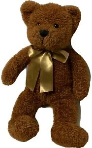 "First & Main Benjamin Teddy Bear Plush 12"" Brown Stuffed Animal Gold Bow #1754"