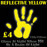 Yellow Reflective Vinyl Sticker Glows At Night When Hit By a Beam of Light